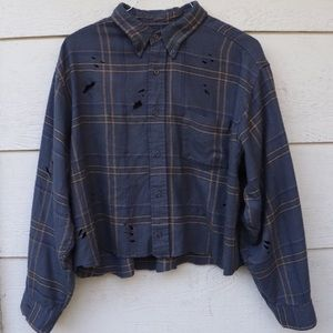 Vintage Distressed Button Up Cropped Flannel